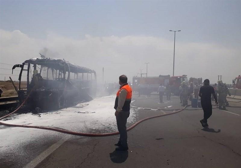 آتشسوزی صددرصدی اتوبوس مسافری تبریز-کلیبر در اهر/ مسافران به موقع تخلیه شدند