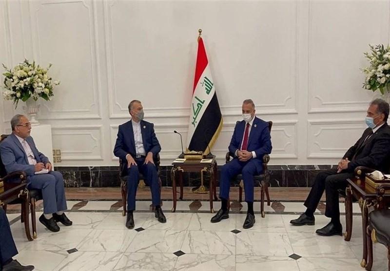 امیر عبداللهیان یلتقى رئیس الوزراء العراقی على هامش مؤتمر بغداد