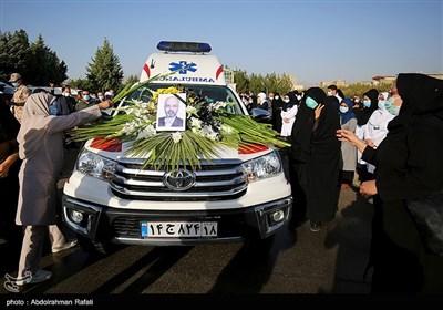 مراسم تشییع پیکر شهید سلامت دکتر محسن احمدی قمی در همدان