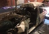 مرگ راننده پراید در خودروی متلاشی شده + تصاویر