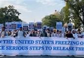 تظاهرات مردم کابل علیه توقیف داراییهای افغانستان توسط آمریکا