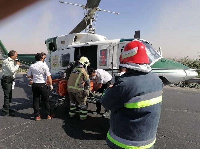 14000709141512933237268810 - تصادف مرگبار پژو 207 در جاده ورامین/ انتقال مصدومان با بالگرد + تصاویر