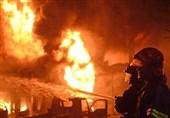 کارخانه قیر الیگودرز طعمه حریق شد؛ آتش سوزی مخزن همچنان ادامه دارد