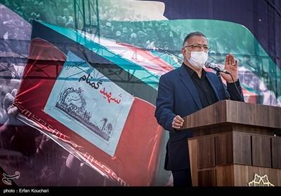 سخنرانی علیرضا زاکانی شهردار تهران در مراسم تشییع شهدای گمنام در محل دریاچه شهدای خلیج فارس