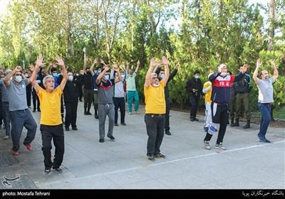 مراسم صبحگاه ورزشیکارکنان پلیس در باغ موزه قصر