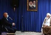 رئیس مجلس شورای اسلامی با آیت الله نوری همدانی دیدار کرد