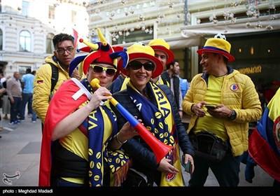 حضور هواداران تیم های حاضر در جام جهانی 2018 در حوالی میدان سرخ مسکو